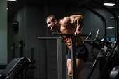 Muscular Bodybuilder Working Out In Gym Doing Exercises On Parallel Bars. Athlitic Male Naked Torso poster