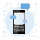 Постер, плакат: Social Concept A New Message And A Chat On The Internet Notifications About A New Message In The S