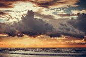 Beatiful Sunset With Clouds Over The Baltic Sea poster