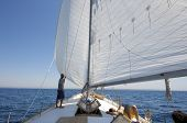 picture of sail-boats  - man on sail boat looking around and boy resting downwind - JPG
