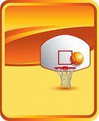 Постер, плакат: баскетбол спинодержатель и обручем на оранжевом фоне