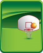 Постер, плакат: баскетбольное кольцо и спинодержатель на зеленом фоне