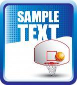 Постер, плакат: баскетбольное кольцо и спинодержатель на синий полутоновых баннер