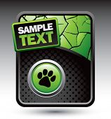picture of dog footprint  - animal paw print on green cracked banner - JPG