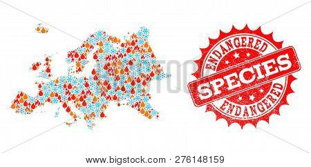 poster of Composition Of Winter And Fire Map Of Europe And Endangered Species Grunge Stamp Seal. Mosaic Vector