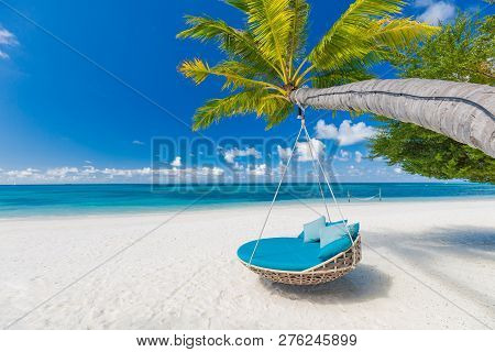 poster of Tropical Beach Background As Summer Landscape With Beach Swing Or Hammock And White Sand And Calm Se