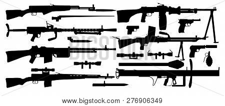 Vector Set Silhouettes Various Military