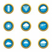 Atmospheric Condition Icons Set. Flat Set Of 9 Atmospheric Condition Icons For Web Isolated On White poster
