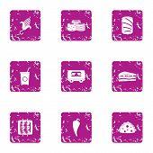Excellent Cuisine Icons Set. Grunge Set Of 9 Excellent Cuisine Icons For Web Isolated On White Backg poster