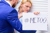 Me Too Social Movement. Metoo As A New Movement. Female With Disgusting Face. Sexual Harassment At W poster
