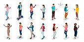 Trendy Isometric People And Gadgets, Teenagers, Young People, Students, Using Hi Tech Technology, Mo poster