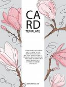 Floral Wedding Invitation Card Template Design With White And Pink Magnolia Flowers. Spring Card Tem poster
