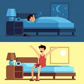 Man Sleeping Waking Up. Person Under Duvet At Night And Getting Out Of Bed Morning. Peacefully Sleep poster