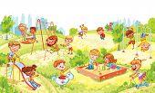 Children Entertainment Complex With Swing, Sandbox, Carousel And Slides In Recreation Park. Children poster