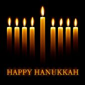 pic of menorah  - Vector Happy Hanukkah greeting card with candles on black background - JPG