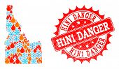 Composition Of Winter And Fire Map Of Idaho State And H1n1 Danger Grunge Stamp Seal. Mosaic Vector M poster