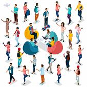 Trendy Isometric People And Gadgets, 3d People, Teenager, Students, Large Group Of People, Using Hi  poster