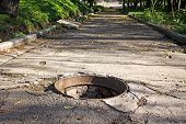 picture of underground water  - Park walkway with opened sewers hatch in Dnipropetrovsk - JPG