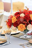 picture of yellow rose  - beautiful wedding arrangement roses glass table forks - JPG