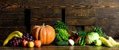 Autumn Harvest Organic Crops Pumpkin Corn Vegetables. Vegetables From Garden Or Farm Close Up. Homeg poster
