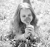 Girl Lying On Grass, Grassplot On Background. Girl On Smiling Face Holds Red Tulip Flower, Enjoy Aro poster