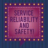 Writing Note Showing Service Reliability And Safety. Business Photo Showcasing Warranty Assurance Se poster