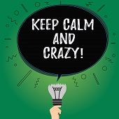 Text Sign Showing Keep Calm And Crazy. Conceptual Photo Relax And Go Insane Happy Get Excited Celebr poster