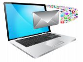 picture of telegram  - colorful illustration of multimedia laptop with message icon - JPG