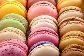 Set Of Different Multi-colored Macaroon Cookies. Colorful Almond Cookies, French Sweet Delicacy. Swe poster