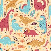 Seamless Pattern Of Cute Dinosaurs With Tropical Leaves. Hand Drawn Vector Illustration. Cute Design poster