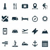 Exploration Icons Set With Suv, Roads, Mountains And Other Guide Elements. Isolated  Illustration Ex poster