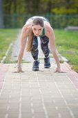 Start Of Sport Career. Women Runner On Start Position Stadium Background. Sportswoman Run Outdoor At poster