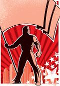 pic of communist symbol  - Retro poster with flag bearer.