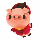 Happy Cute Pig Flying. The Year Of Pig 2019. Chinese New Year Pig poster