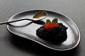 Black On Black. Black Salty Caviar Of Sterlet, Red Salmon Caviar, Mint Leaves And Old Silver Spoon O poster