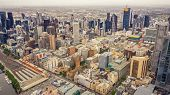 Panorama Of Melbournes City Center From A High Point. Australia. Beautiful Panorama Of Skyscrapers  poster
