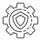 Gear Wheel Secured Icon. Outline Gear Wheel Secured Icon For Web Design Isolated On White Background poster
