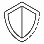 Secured Shield Icon. Outline Secured Shield Icon For Web Design Isolated On White Background poster