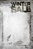 Winter Sale Grunge Background With Grungy Frame And Remains Of Scotch Tape And Cellophane. Fully Edi poster