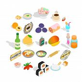 Food With Vitamin Icons Set. Isometric Set Of 25 Food With Vitamin Icons For Web Isolated On White B poster