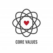 Core Values Outline Or Line Icon Conveying Integrity & Purpose poster