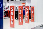 Final Sale. Entrance Of Store In Shopping Mall. Store In Sale Season. Advertising Billboard With Big poster