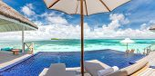 Private Oceanfront Pool With Submerged Loungers In A Luxury Resort In Maldives, Indian Ocean. Luxury poster