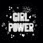 Girl Power With Crown Lettering With On Black Background. Woman Motivational Slogan And Phrase. Femi poster