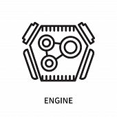 Engine Icon Isolated On White Background. Engine Icon Simple Sign. Engine Icon Trendy And Modern Sym poster