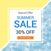 Trendy Summer Sale Promotion Banner Template. Swimming Pool Background. Flat Style Vector Illustrati poster