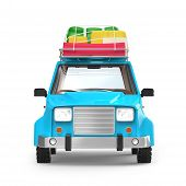 Small 3d Blue Suv Adventure With Luggage On Roof, Front View. 3d Illustration poster