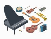 Music, Vector Isometric Concept Illustration, Icon Set, Poster, White Background, 3d. Musical Instru poster