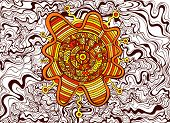 Psychedelic Colorful Surreal Doodle Wave Background. Abstract Design Maze Of Ornaments Steampunk Sty poster