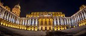 Buda Castle-royal Palace Inner Courtyard At Night,first Completed In 1265. Massive Baroque Palace Wa poster
